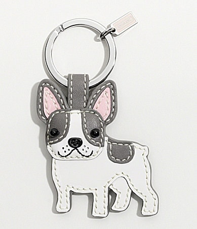 COACH LEATHER FRENCH BULLDOG KEY RING