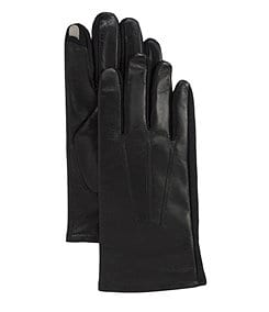 Totes Isotoner Smartouch Stretch Leather Gloves - best smart touch gloves for men - best smartouch gloves for men - black leather - brown leather