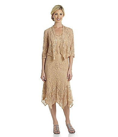 KM Collections Lace Sequin Jacket Dress
