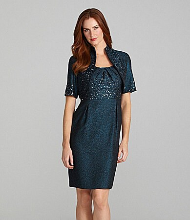 R & M Richards Short-Sleeve Jacket Dress
