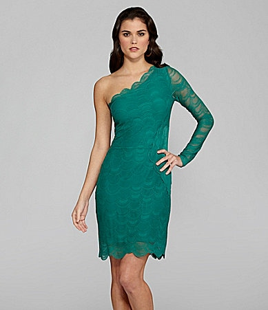 Gianni Bini Dora Scalloped One-Shoulder Dress