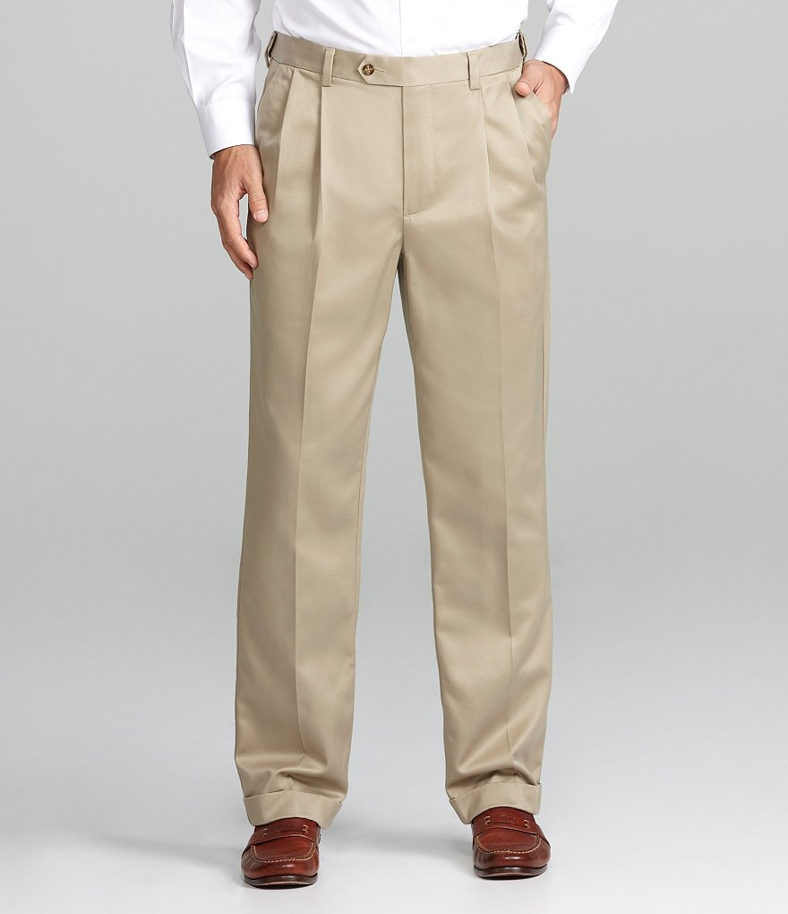 Roundtree & Yorke Big & Tall Pleated Ultimate Expander Travel Smart Twill Pants