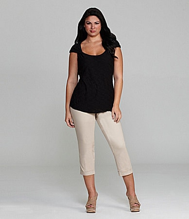 M.S.S.P. Woman Squiggle Jersey Top & Slim-Leg Cuffed Cropped Pants
