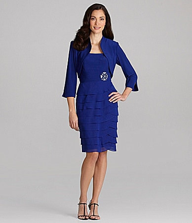 Jessica Howard Tiered Bolero Jacket Dress
