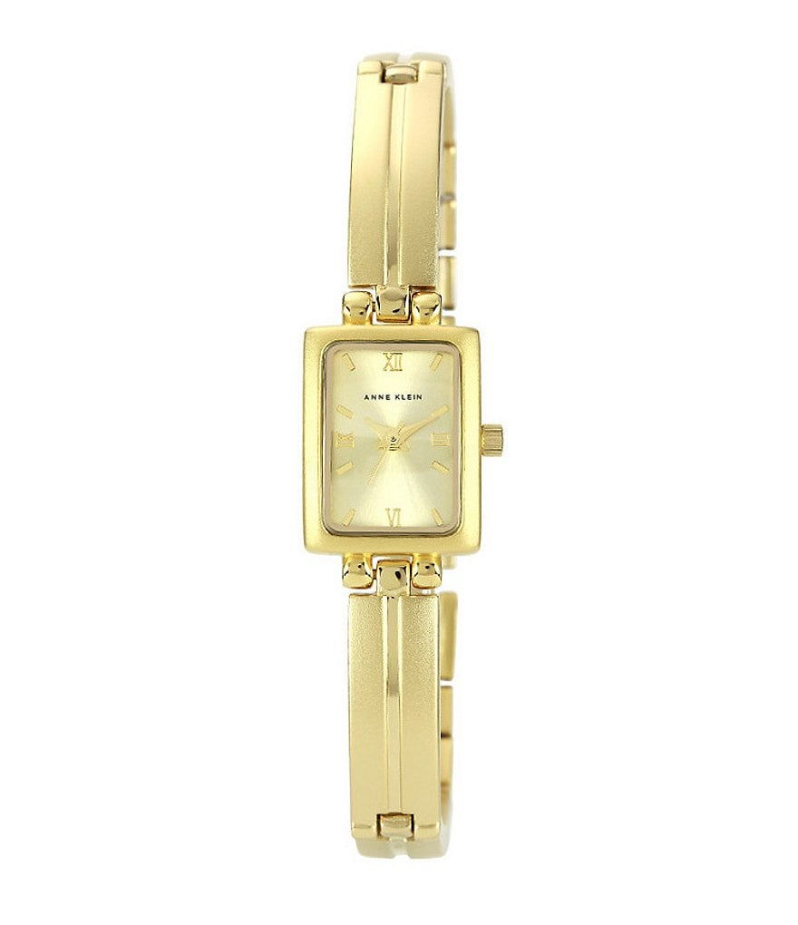 Anne Klein Rectangular IP Gold Link Bracelet Watch