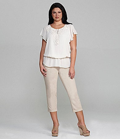 M.S.S.P. Woman Chiffon Flutter-Sleeve Peplum Blouse & Slim-Leg Cuffed Cropped Pants