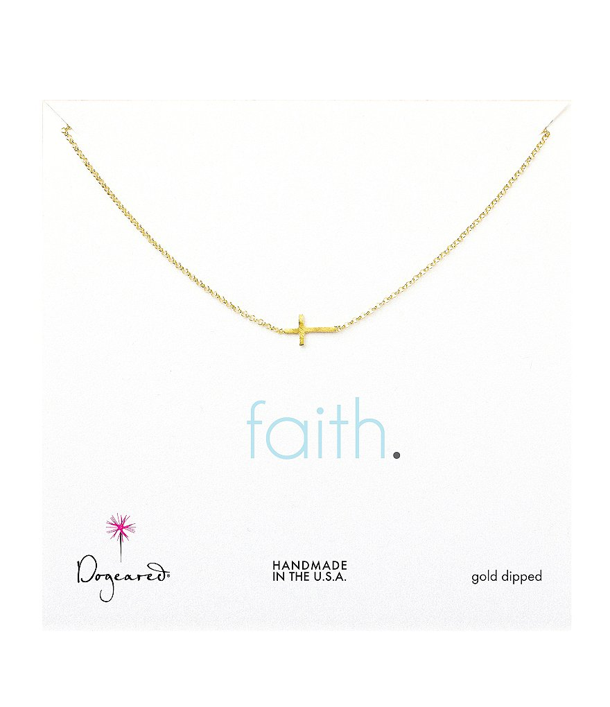 Dogeared Whispers Faith Small Sideways Delicate Cross Chain Necklace