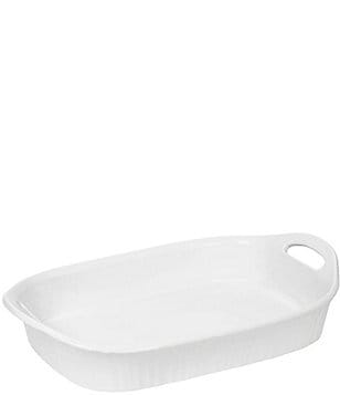 CorningWare French White III Oblong Ceramic Handled Casserole