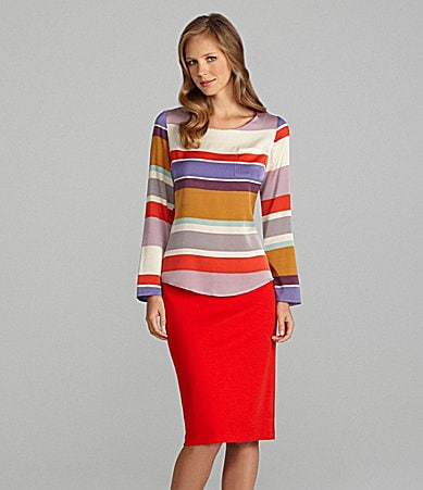 Cremieux Nancy Long-Sleeve T-Shirt Style Blouse & Mindy Belted Pencil Skirt