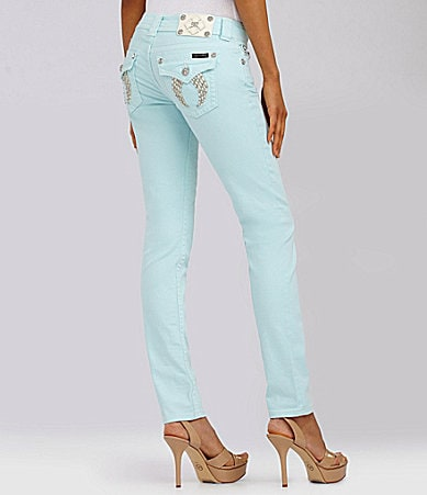 Miss Me Sequin Wing-Embellished Skinny Jeans