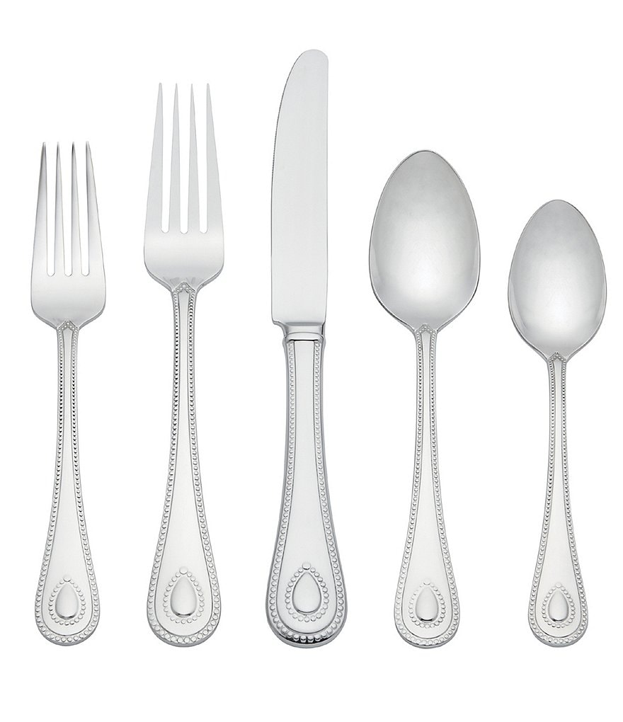 Lenox French Perle Beaded Teardrop 65-Piece Stainless Steel Flatware Set