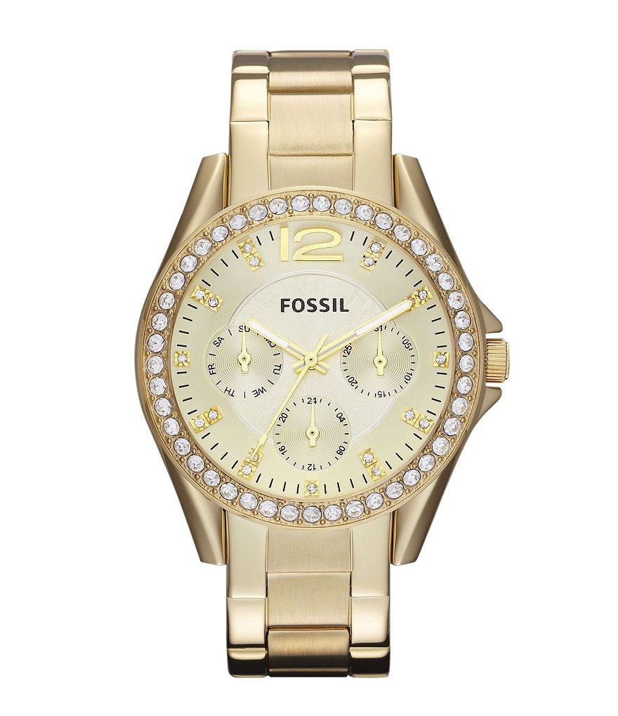 Fossil Riley Goldtone Glitz Multifunction Watch