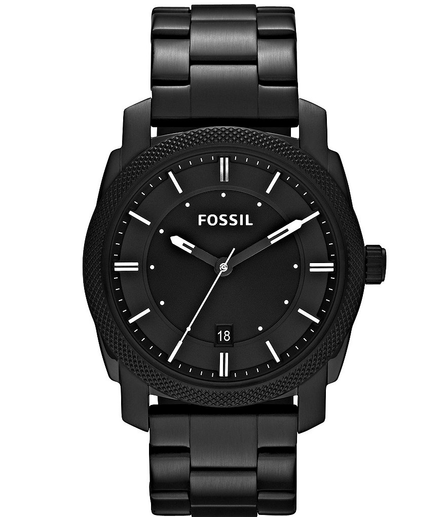 Fossil Machine Black 3 Hand Stainless Steel Bracelet Watch