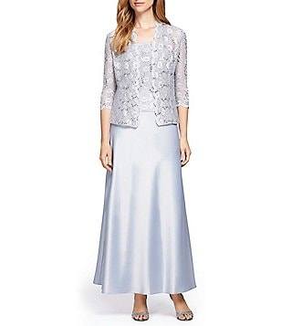 Alex Evenings Petite Lace & Charmeuse Jacket Dress