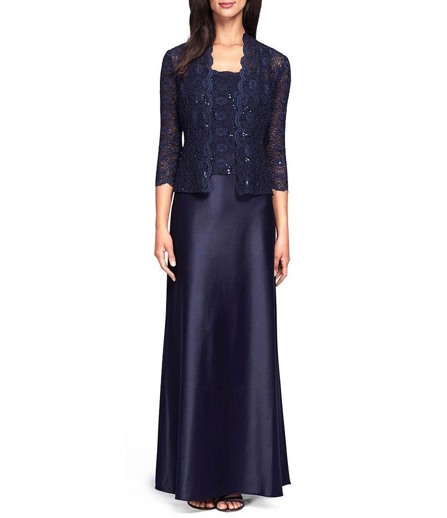 Alex Evenings Lace & Charmeuse Jacket Dress