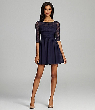Max & Cleo Lace & Chiffon Dress