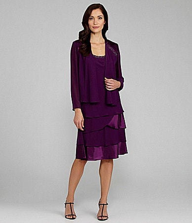 S.L. Fashions Beaded Jacket Dress