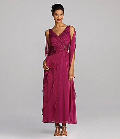 Ignite Evenings Ruched Asymmetric-Tiered Gown with Wrap