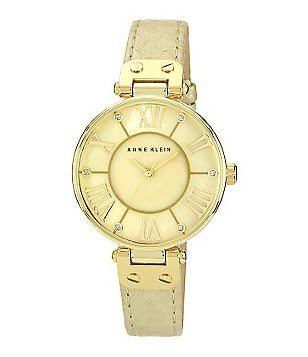 Anne Klein Gold Mother of Pearl Genuine Leather Strap Watch