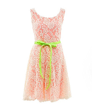 Zunie 7-16 Lace-Overlay Dress