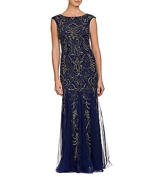 Adrianna Papell Cap Sleeve Scoop Back Beaded Gown