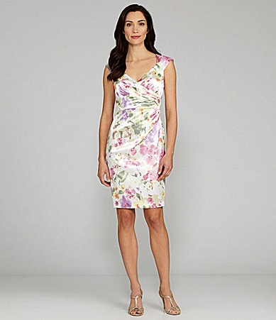 London Times Satin Floral Dress