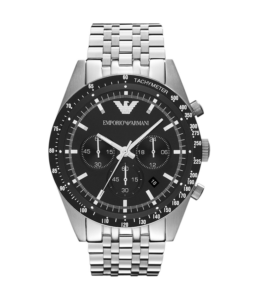 Emporio Armani 7 Link Silver Stainless Steel Bracelet Chronograph Sport Watch