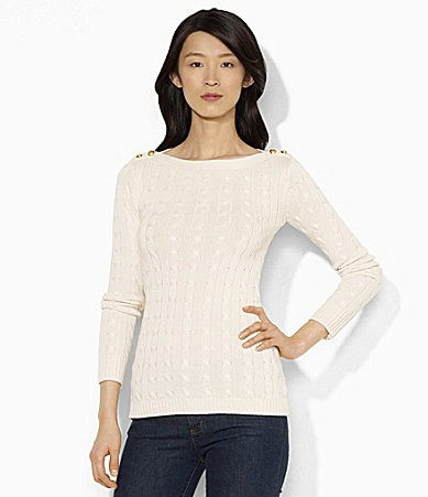 Lauren Ralph Lauren Boatneck Cable-Knit Signature Sweater