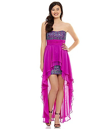 Hailey Logan Strapless Sequin Hi-Low Dress