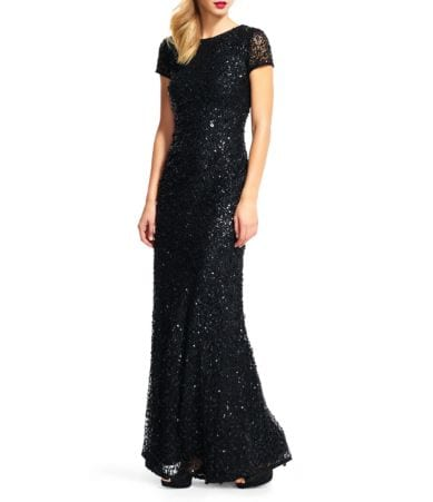 Adrianna Papell Short Sleeve Sequined Long Skirt Gown