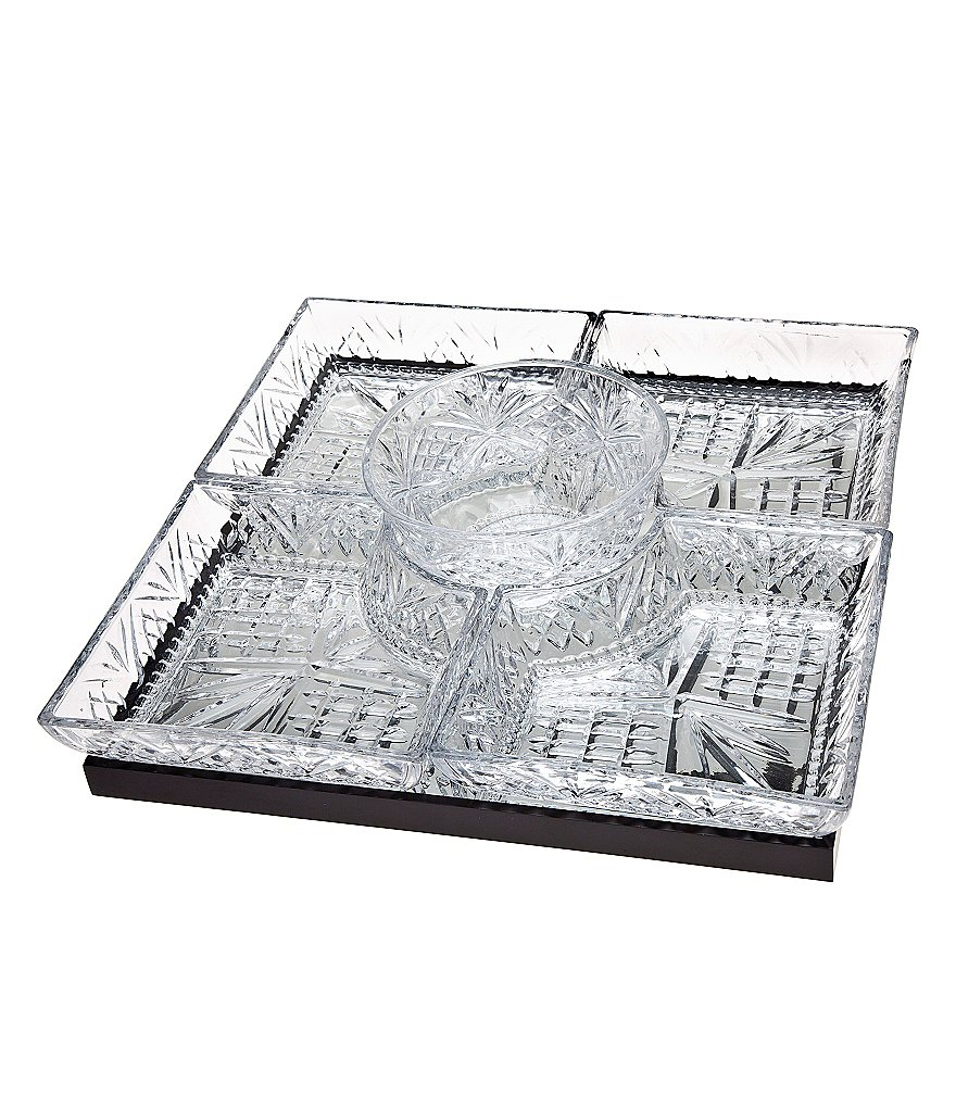 Godinger Dublin Crystal Square Lazy Susan with Mirror Tray