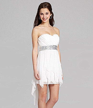 Sequin Hearts Strapless Beaded Hi-Low Dress