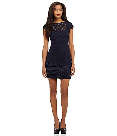 Jessica Simpson Lace Tiered-Hem Dress