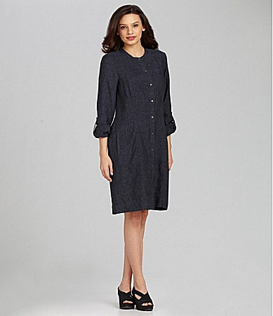 Denim Dress on Eileen Fisher Mandarin Collar Linen Dress   Dillards Com