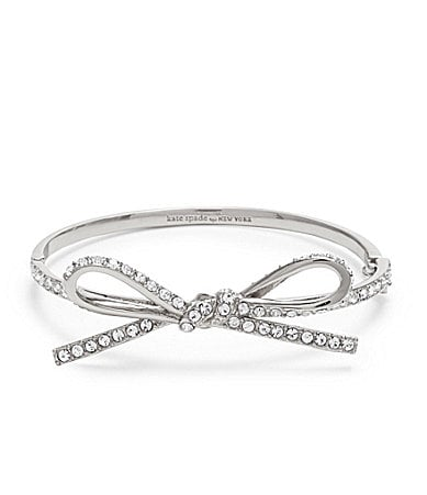 kate spade new york Skinny Mini Pave Bow Bangle Bracelet
