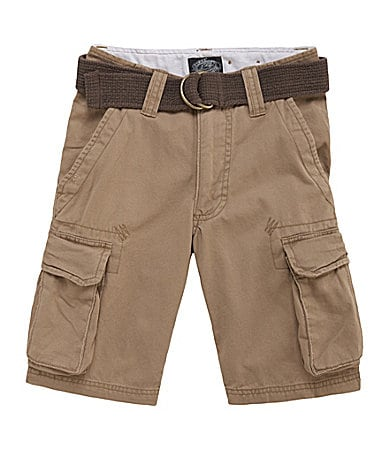 First Wave 8-20 Belted Twill Cargo Shorts