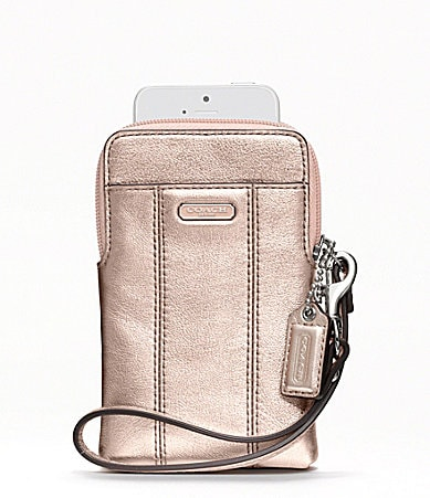 COACH METALLIC LEATHER N/S UNIVERSAL CASE