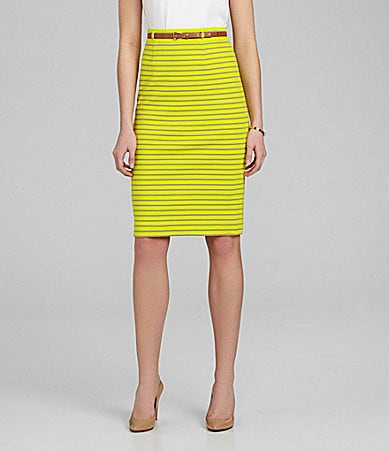 Cremieux High-Waist Stripe Pencil Skirt