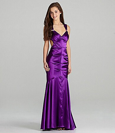 Blondie Nites Satin Low-Back Gown