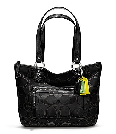 COACH POPPY METALLIC SIGNATURE SATEEN SMALL TOTE
