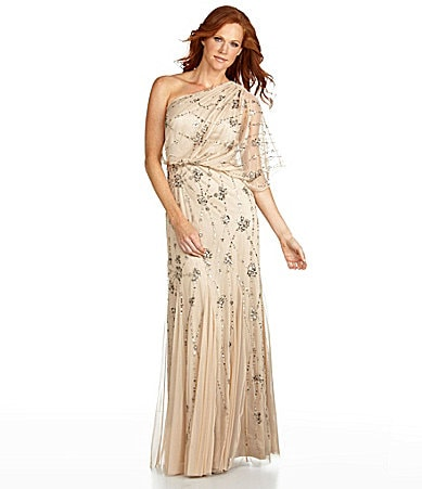 adrianna papell petites beaded chiffon one shoulder gown