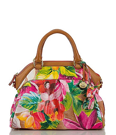 Brahmin Pink Tropical Floral Collection Louise Rose Satchel