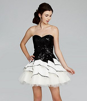 Masquerade Strapless Sequin Tiered Swing Party Dress