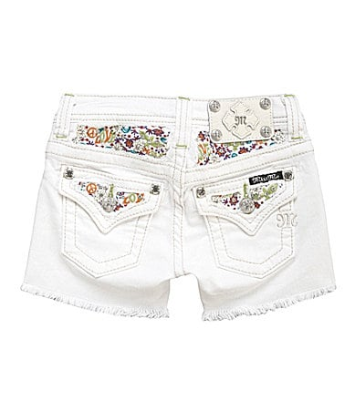 Miss Me Girls 7-16 Embroidered-Pocket Frayed-Hem Shorts