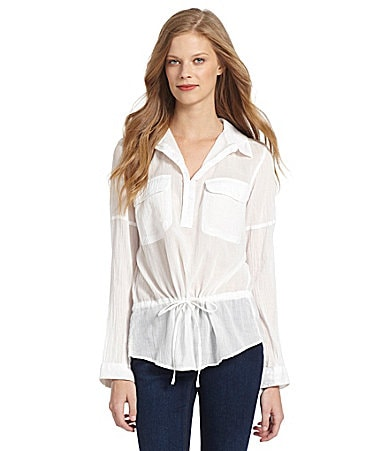 DKNY Jeans 2-Pocket Gauze Peplum Top plus size,  plus size fashion plus size appare