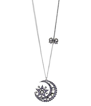 Betsey Johnson Iconic Celestial Collection Large Moon & Star Pendant Long Necklace