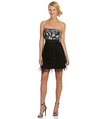 Hailey Logan Strapless Sequin-Bodice Dress