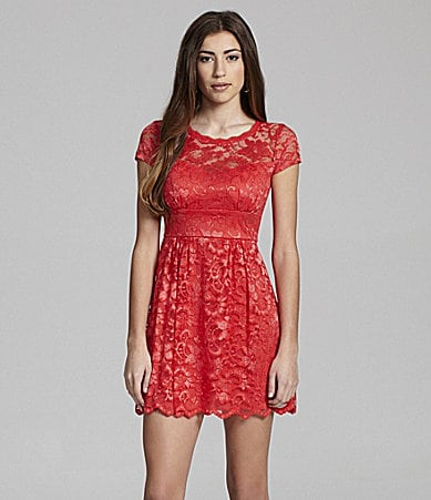 B. Darlin Short-Sleeve Lace Dress