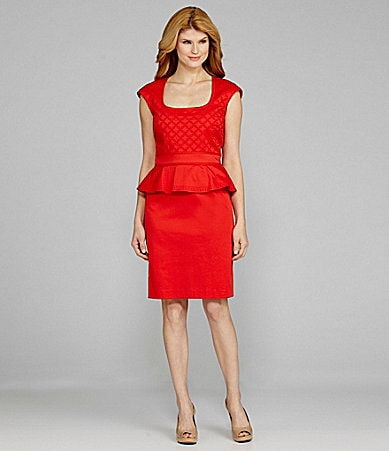 Antonio Melani Arice Cap-Sleeve Embroidered Peplum Dress