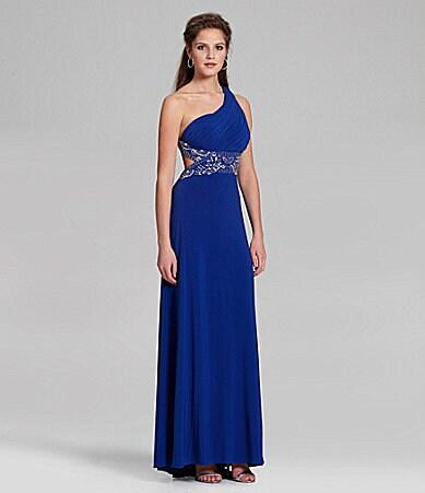 Blue  Shoulder Dress on Blondie Nites One Shoulder Beaded Gown   Dillards Com